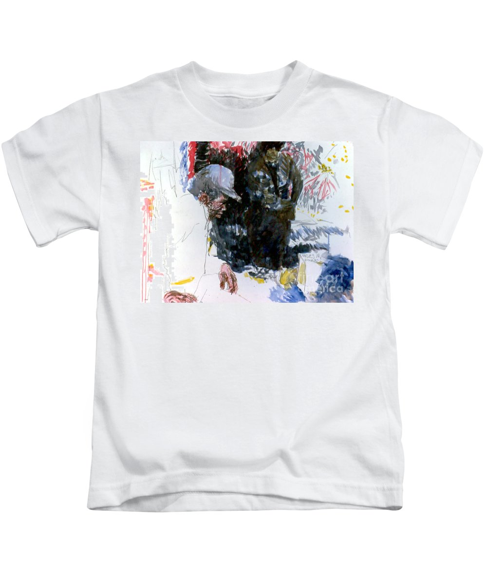 Man Kids T-Shirt featuring the painting The Story Teller by Charles M Williams
