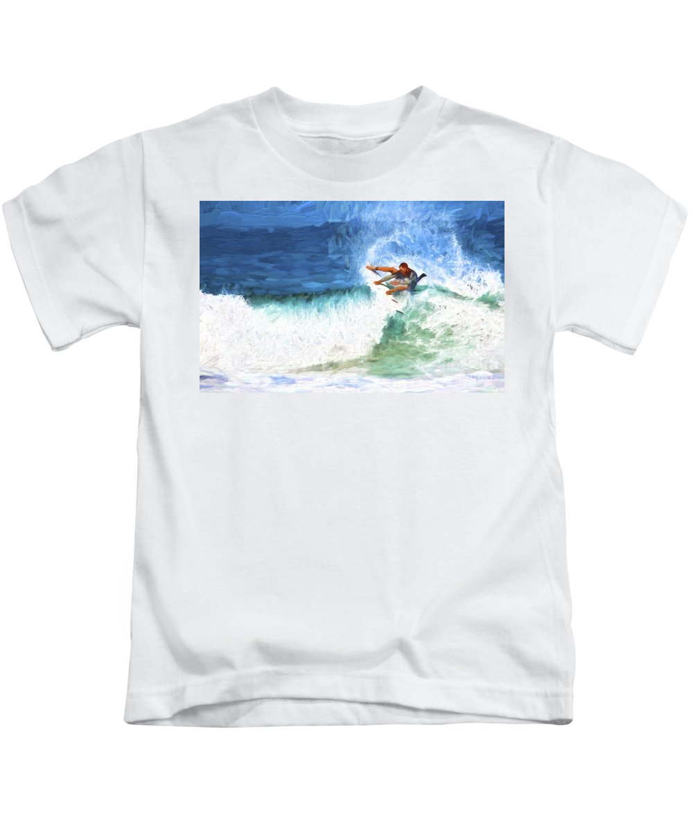 Surfer Kids T-Shirt featuring the photograph The surfer by Sheila Smart Fine Art Photography