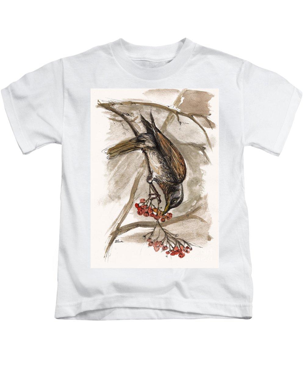 Thrush Kids T-Shirt featuring the painting The Thrush Eating Cranberries by Angel Tarantella