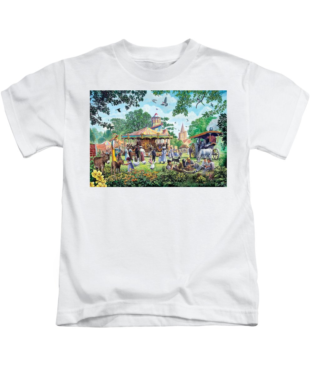 Animal Kids T-Shirt featuring the photograph The Village Fayre by Steve Crisp