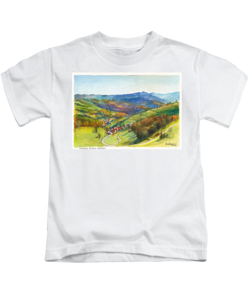 Germany Kids T-Shirt featuring the painting The Village Of Wieden In The Black Forest by Dai Wynn