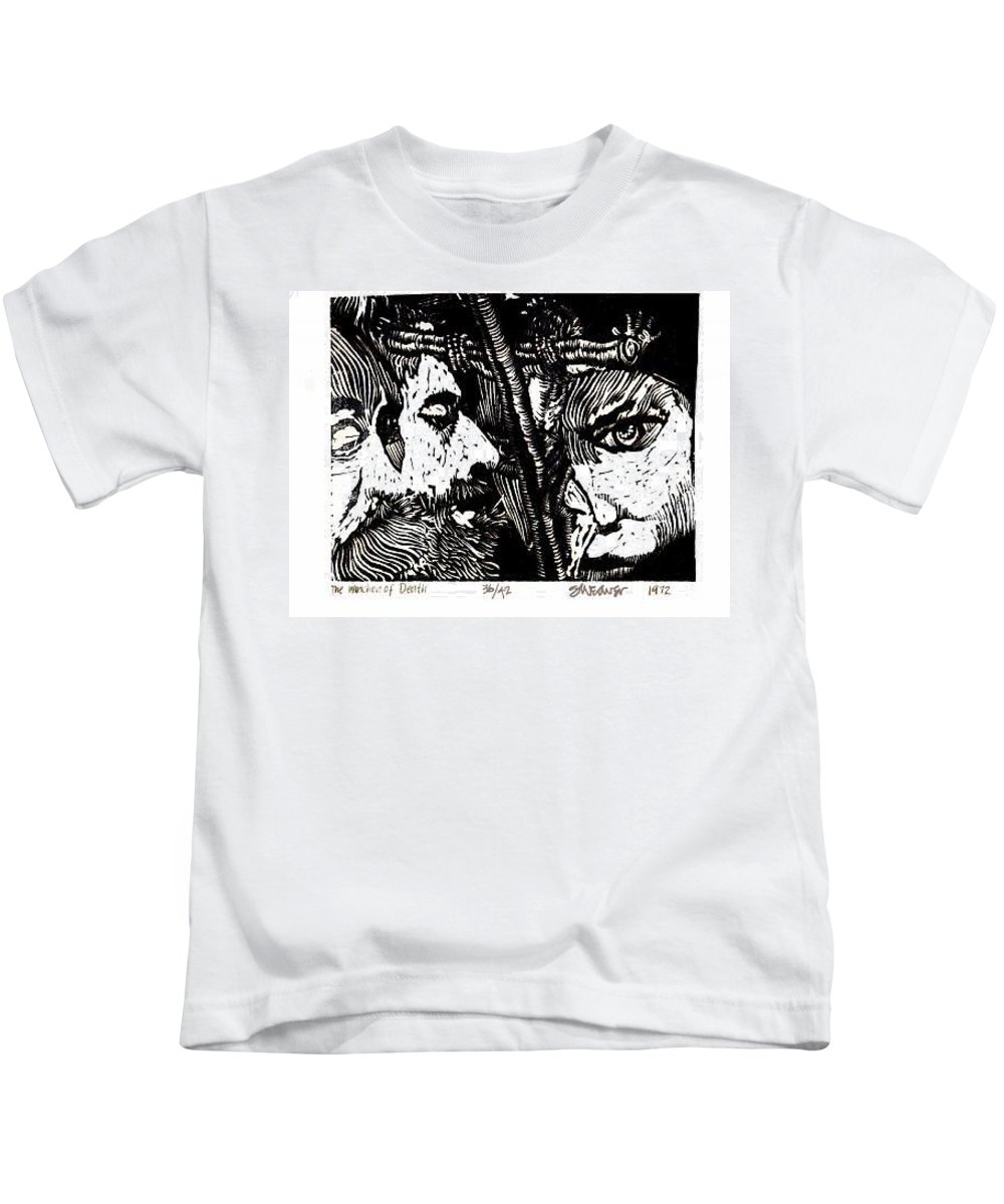 Spectators At The Crucifiction Of Jesus Christ Kids T-Shirt featuring the relief The Watchers Of Death by Seth Weaver
