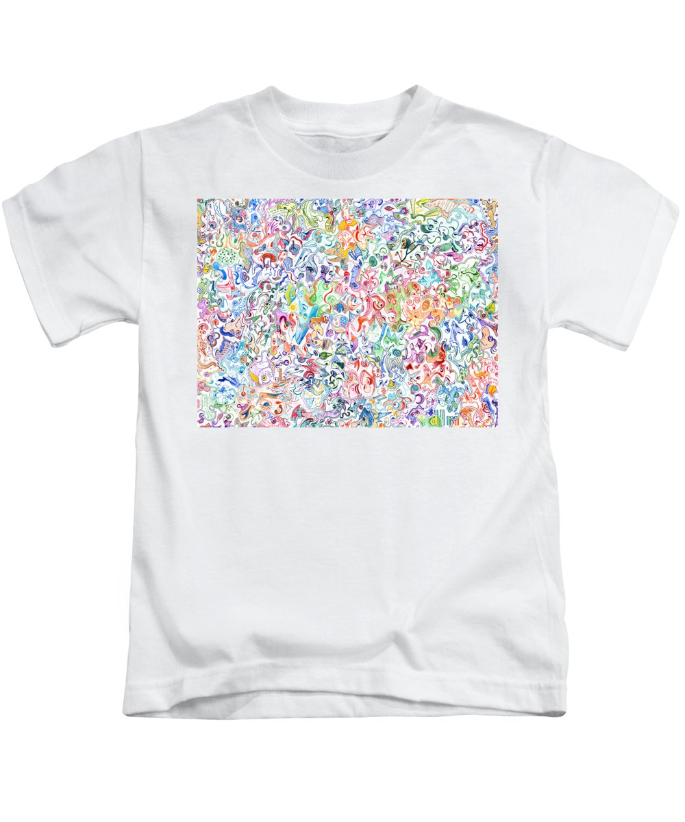 Migliore Kids T-Shirt featuring the drawing Themeless Process 12 by Dave Migliore