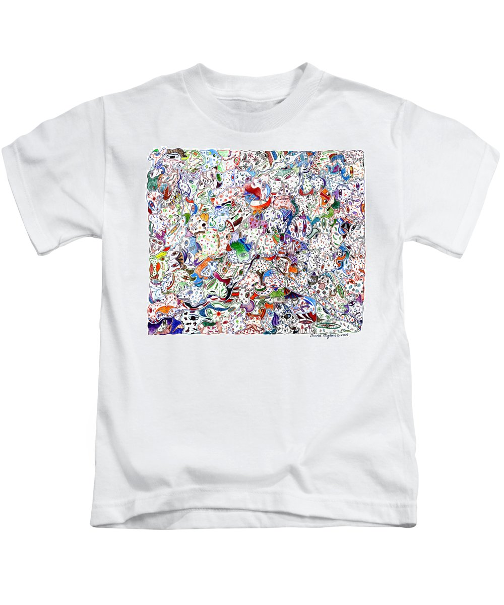 Migliore Kids T-Shirt featuring the drawing Themeless Process 9 by Dave Migliore