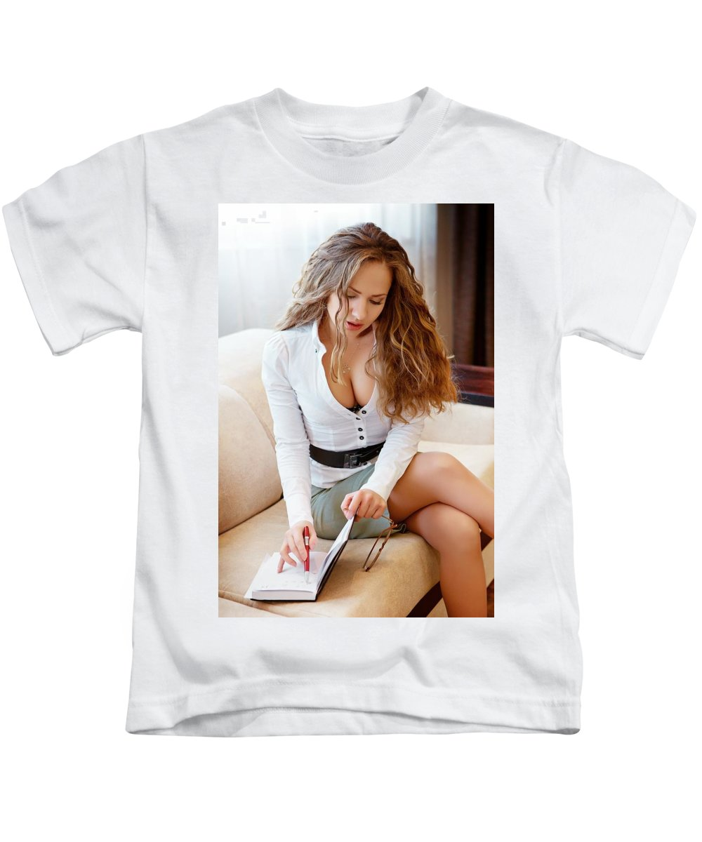 Business Kids T-Shirt featuring the photograph Thinking by Yulia Litvinova