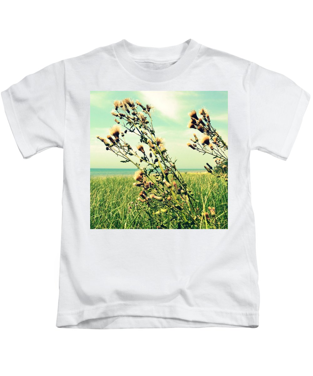 Horizon Kids T-Shirt featuring the photograph Thistle On The Beach by Michelle Calkins