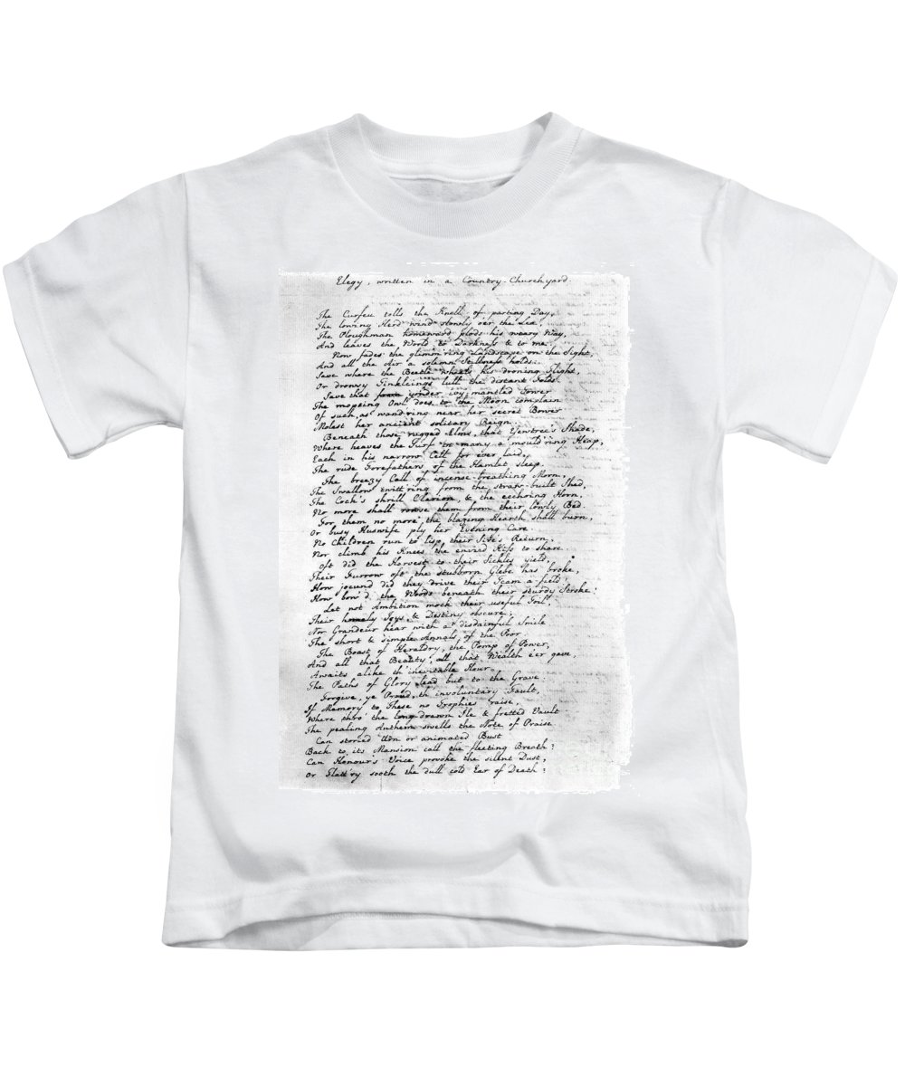 1750 Kids T-Shirt featuring the photograph Thomas Gray: Elegy, 1750 by Granger