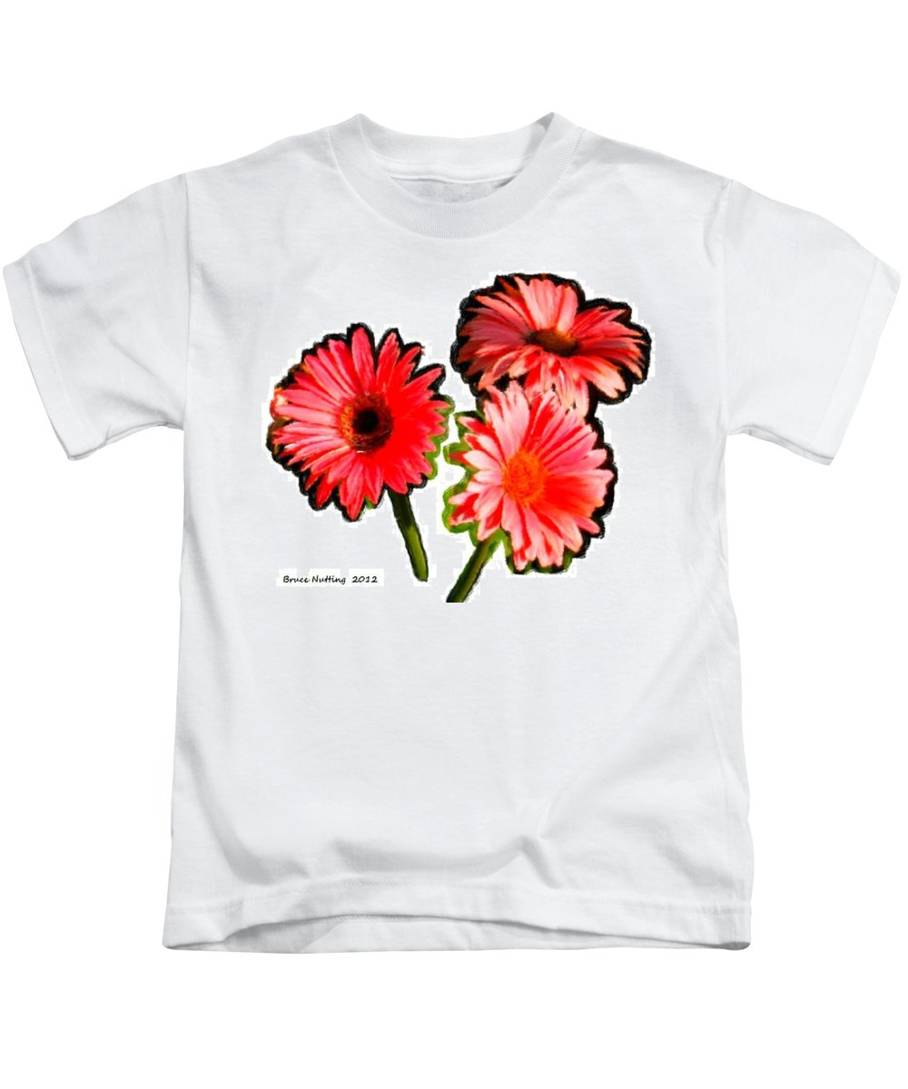 Red Kids T-Shirt featuring the painting Three Bright Red Flowers by Bruce Nutting