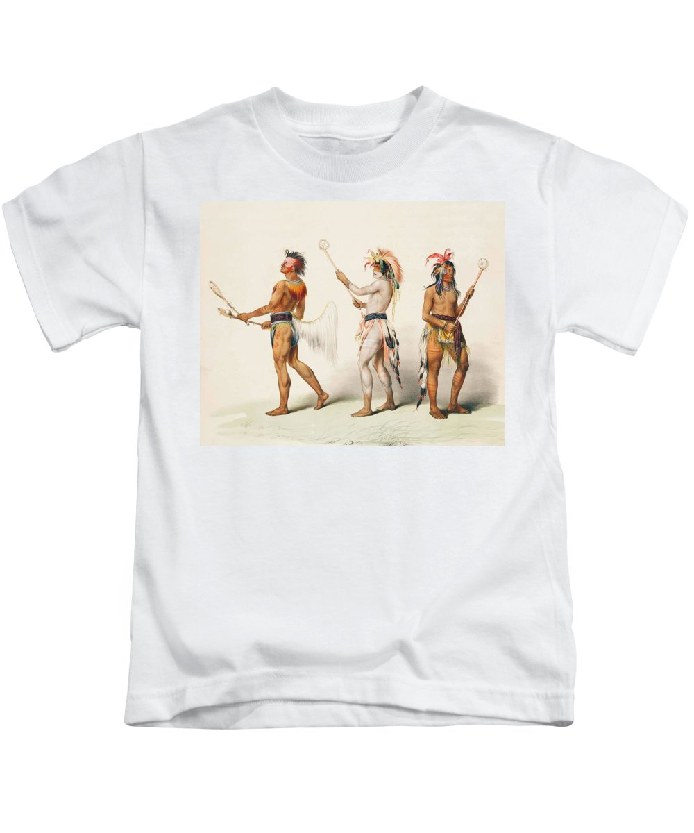Three Indians Playing Lacrosse Kids T-Shirt featuring the digital art Three Indians Playing Lacrosse by Unknown