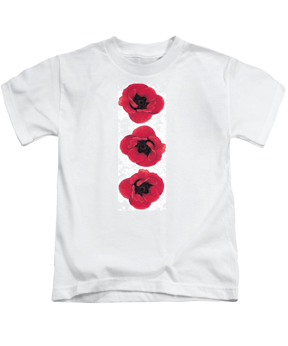 Poppy Kids T-Shirt featuring the painting Three Red Poppies by Cecely Bloom