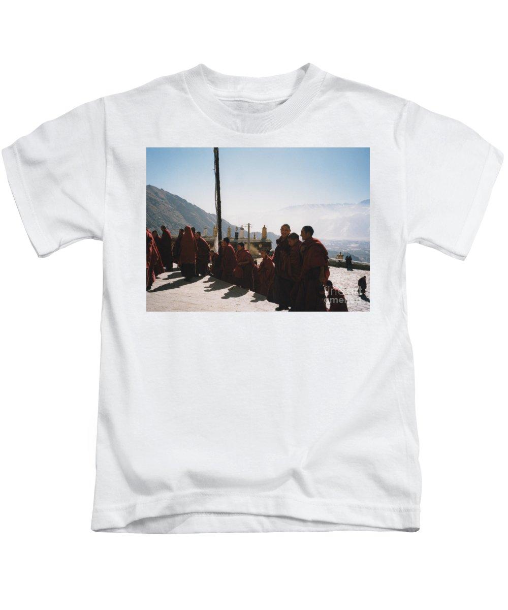 First Star Kids T-Shirt featuring the photograph Tibetan Monks 2 by First Star Art