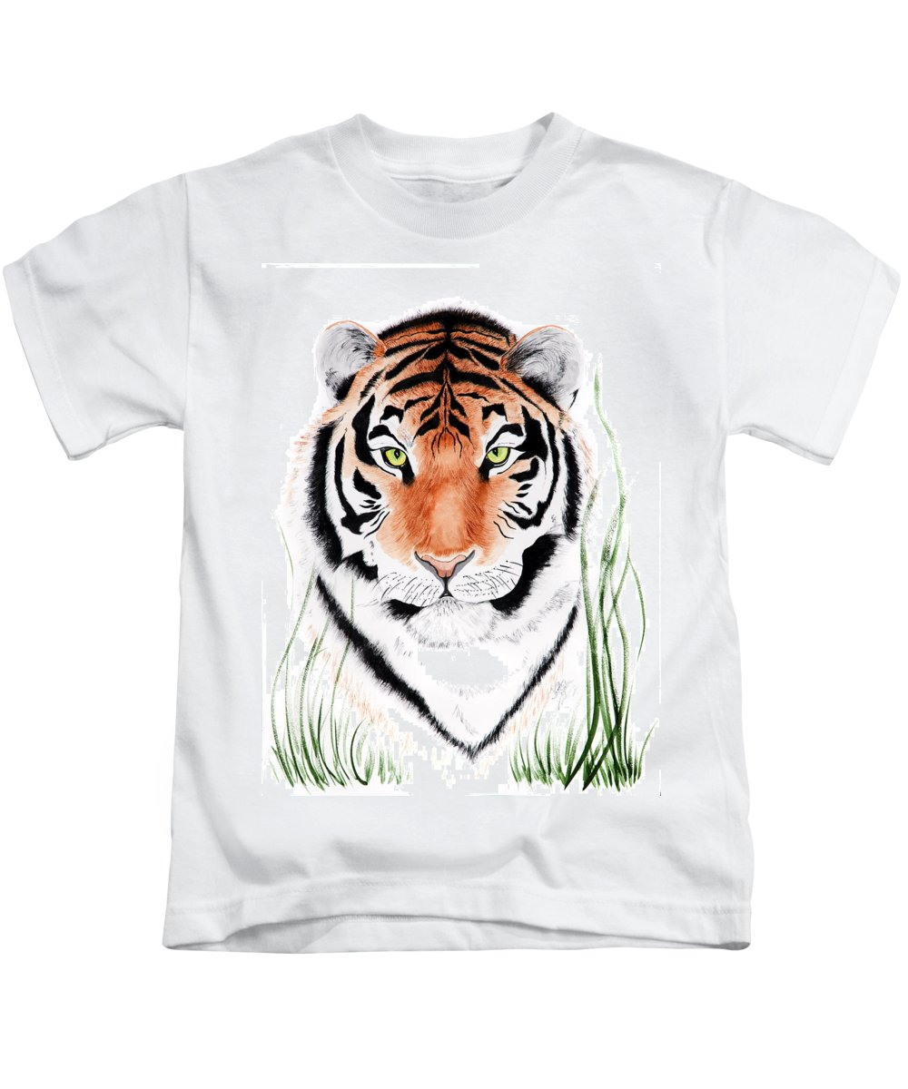 Tiger Kids T-Shirt featuring the painting Tiger Tiger Where by Joette Snyder