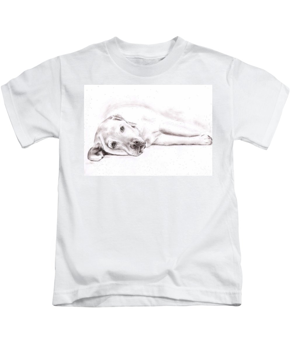 Dog Kids T-Shirt featuring the drawing Tired Labrador by Nicole Zeug
