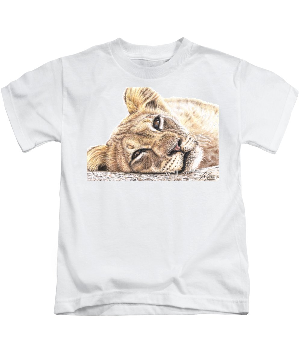Lion Kids T-Shirt featuring the drawing Tired Young Lion by Nicole Zeug