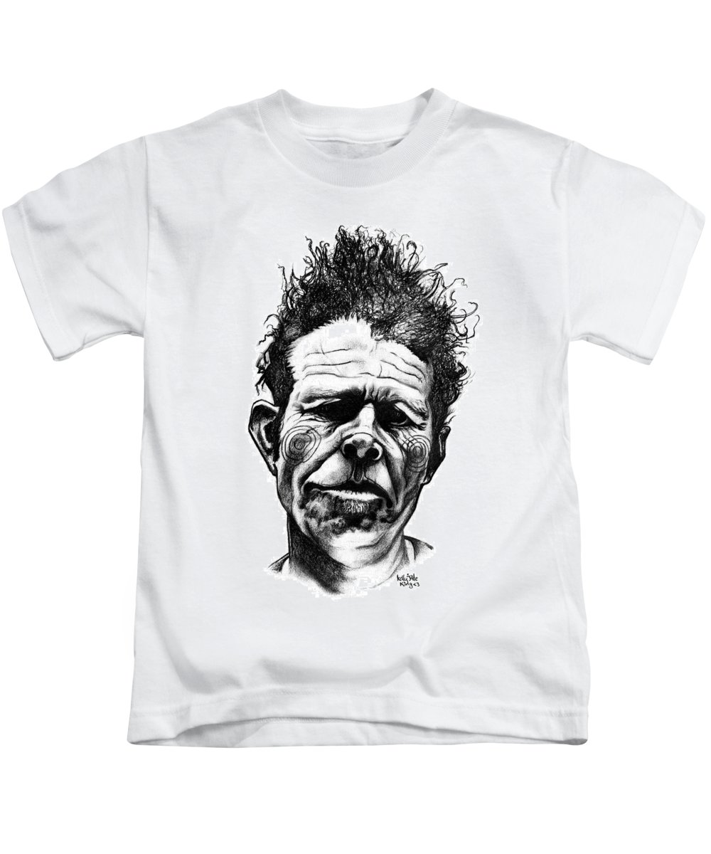 Tom Waits Kids T-Shirt featuring the drawing Tom Waits by Kelly Jade King
