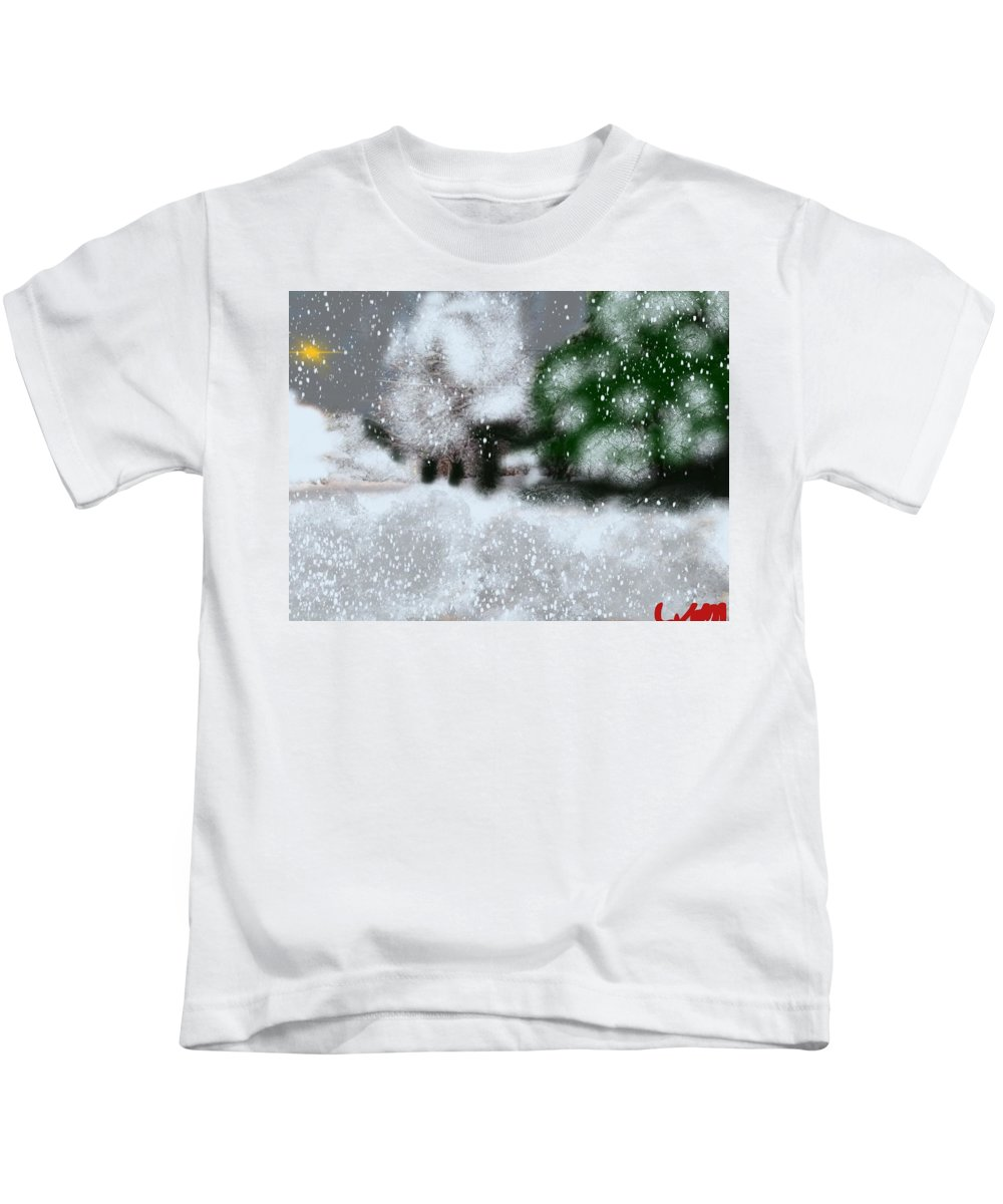 Maine Kids T-Shirt featuring the painting Too Close To Winter by Bill Minkowitz