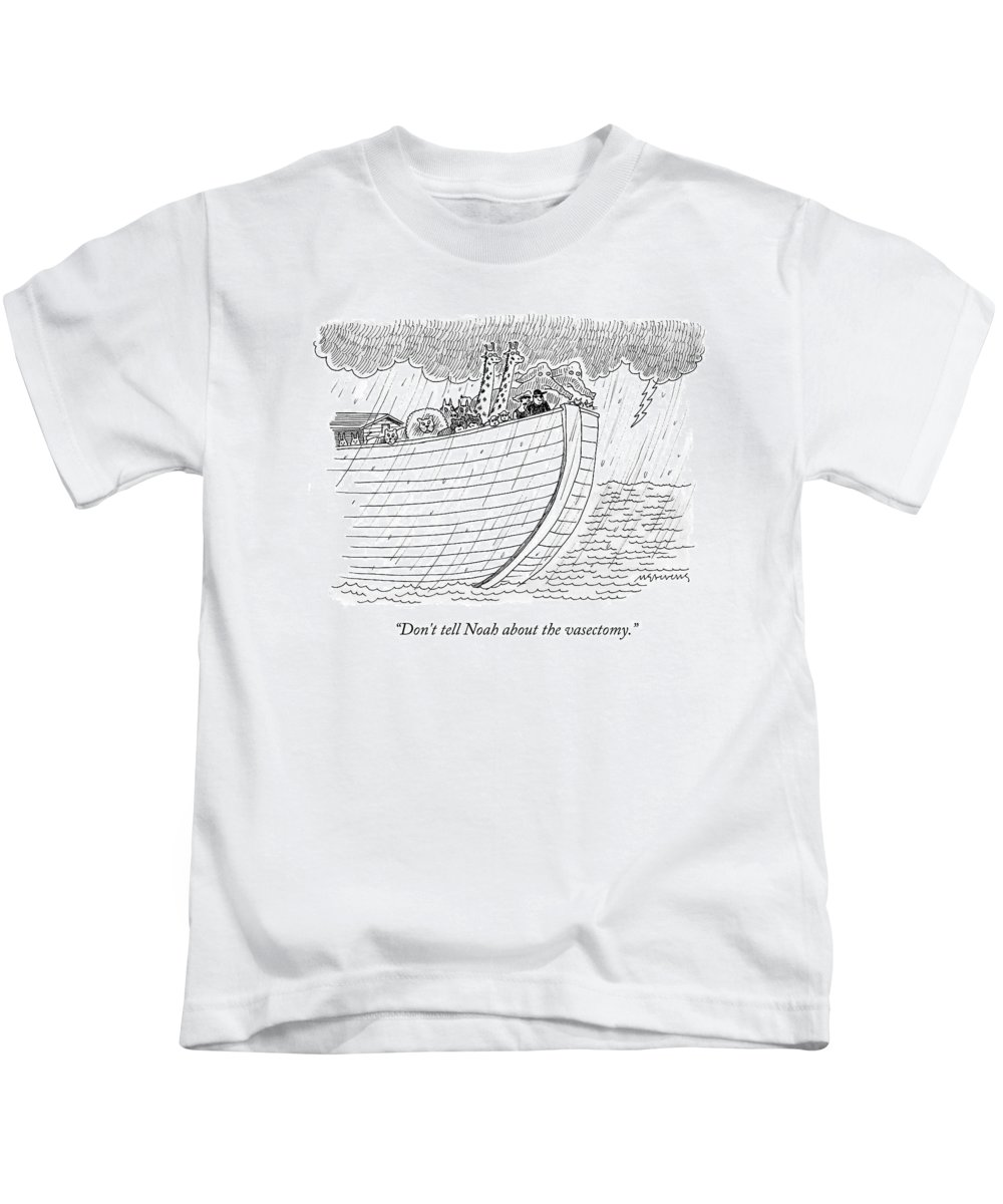 Noah Kids T-Shirt featuring the drawing Tourists On Noah's Ark by Mick Stevens