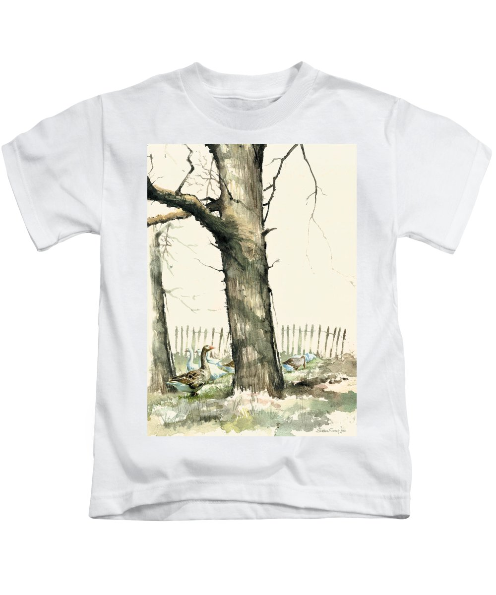 Steve Crisp Kids T-Shirt featuring the photograph Tree And Geese by Steve Crisp