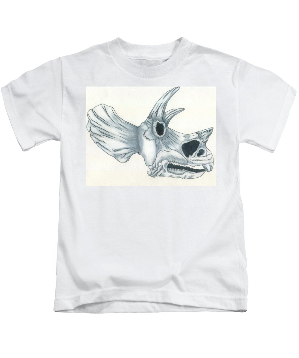 Dinosaur Kids T-Shirt featuring the drawing Tricerotops Skull by Micah Guenther