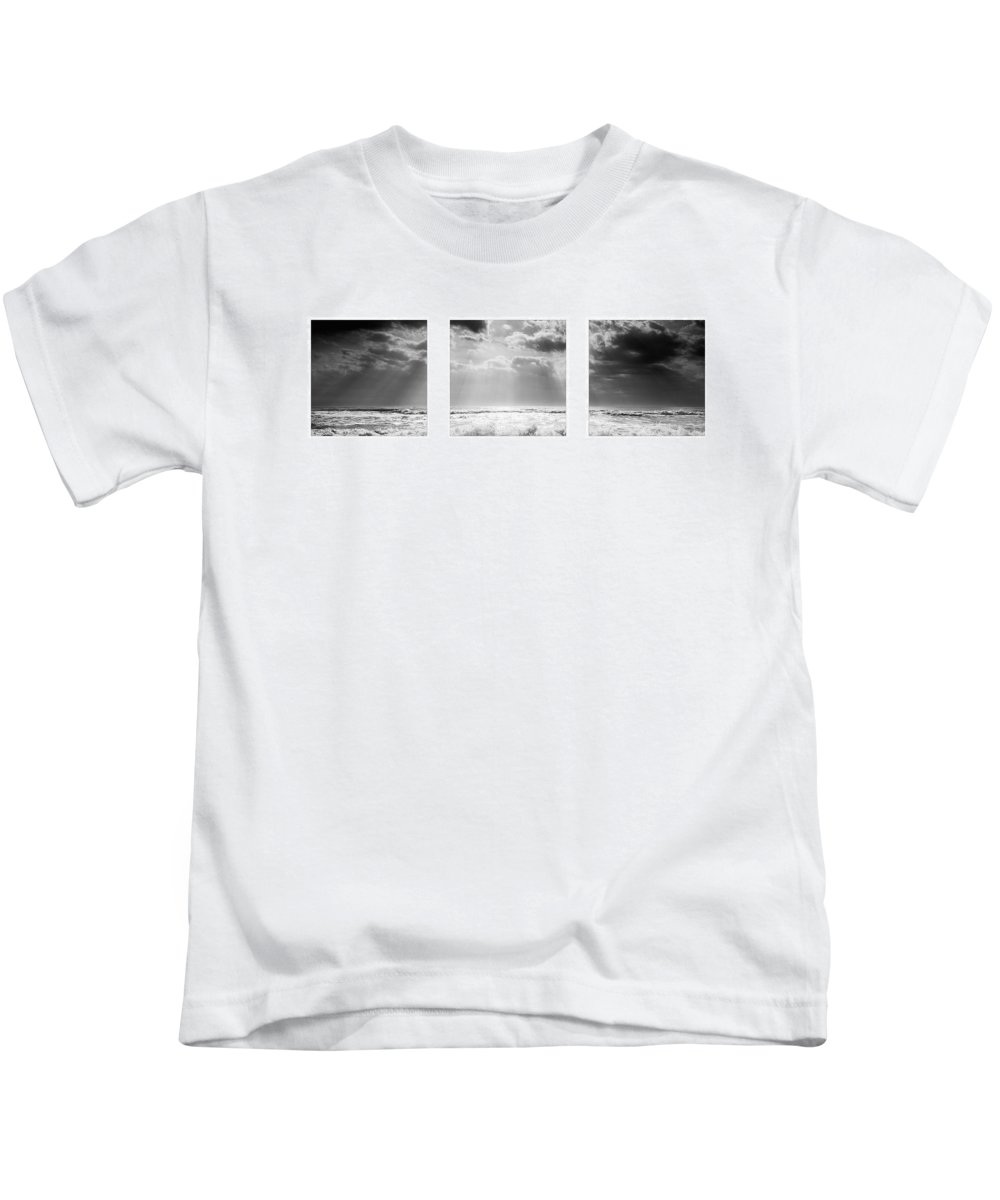 Beauty Kids T-Shirt featuring the photograph Triptychon Dramatic Sea 3 by Jochen Schoenfeld