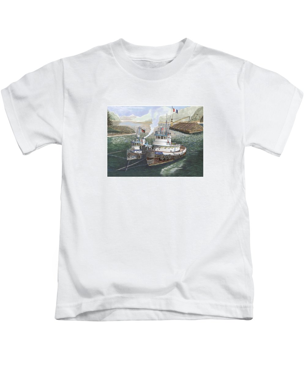 Gale Warning Kids T-Shirt featuring the painting Gale Warning Safe Harbor by Jack Pumphrey
