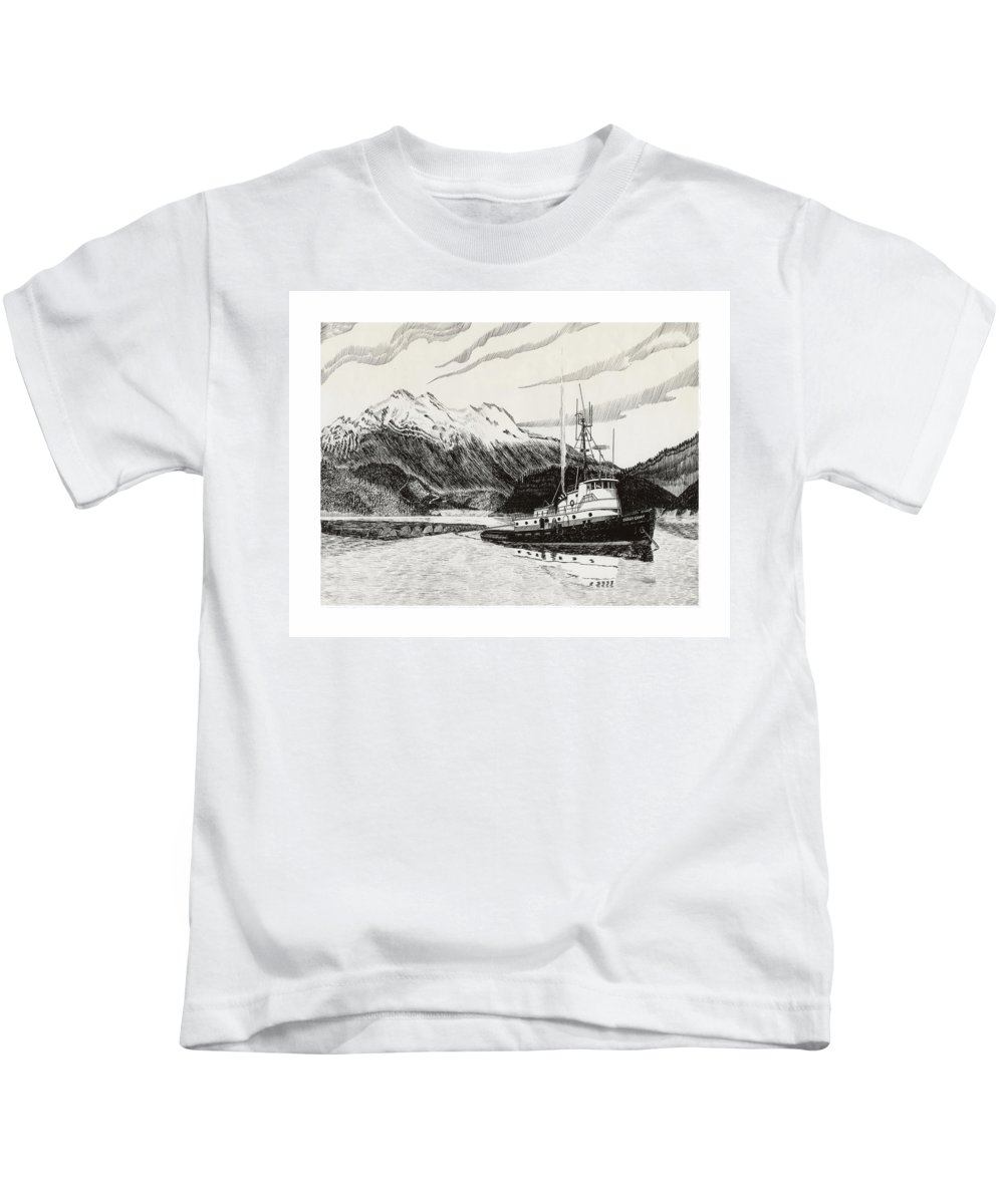 Tugboat Skagit Chief Prints Kids T-Shirt featuring the drawing Skagit Chief Tugboat by Jack Pumphrey
