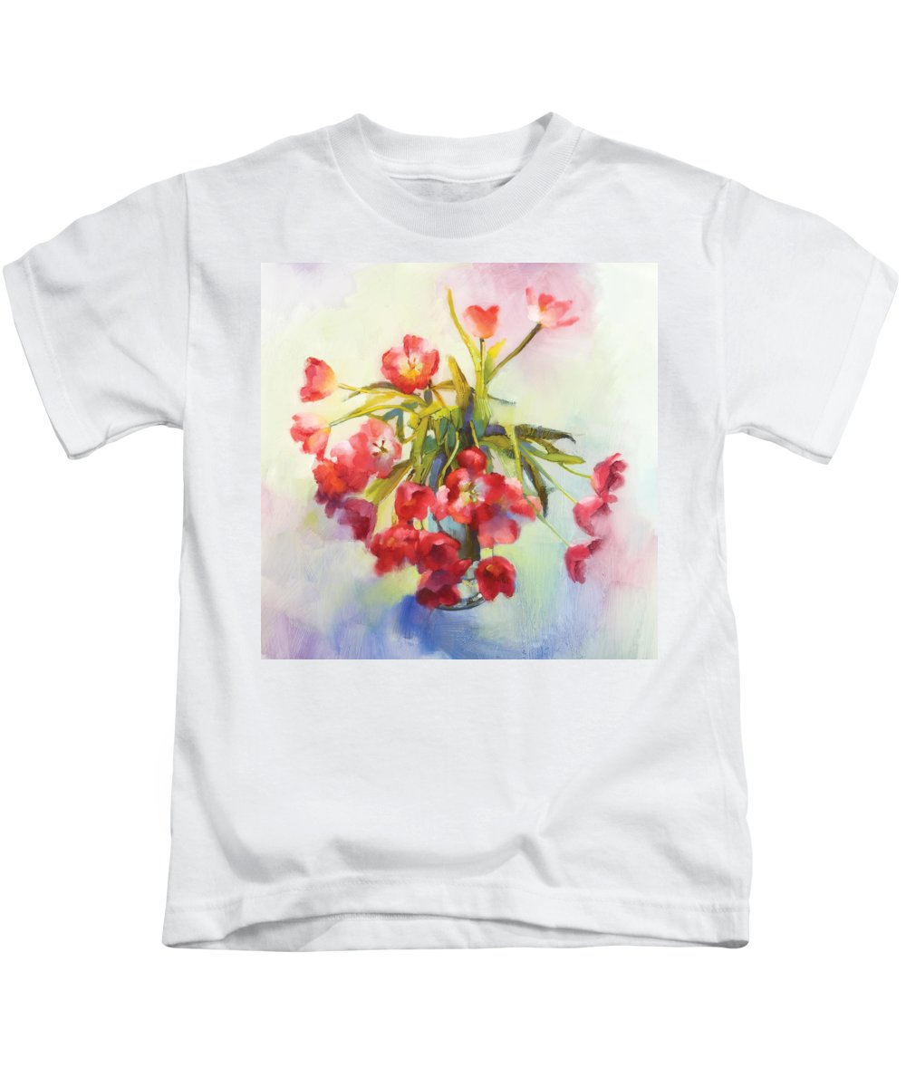 Florals Kids T-Shirt featuring the painting Tulip Fling by Cathy Locke