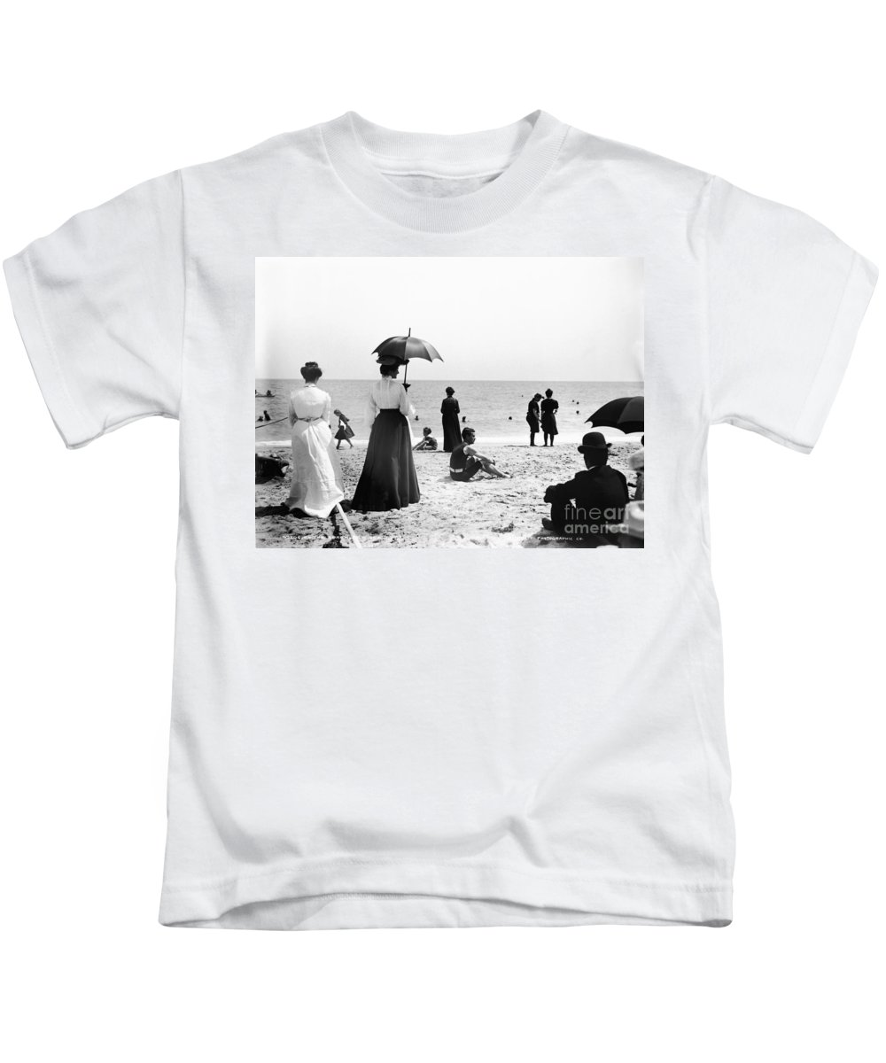 Black And White Kids T-Shirt featuring the photograph Turn Of The Century Palm Beach by LOC Science Source
