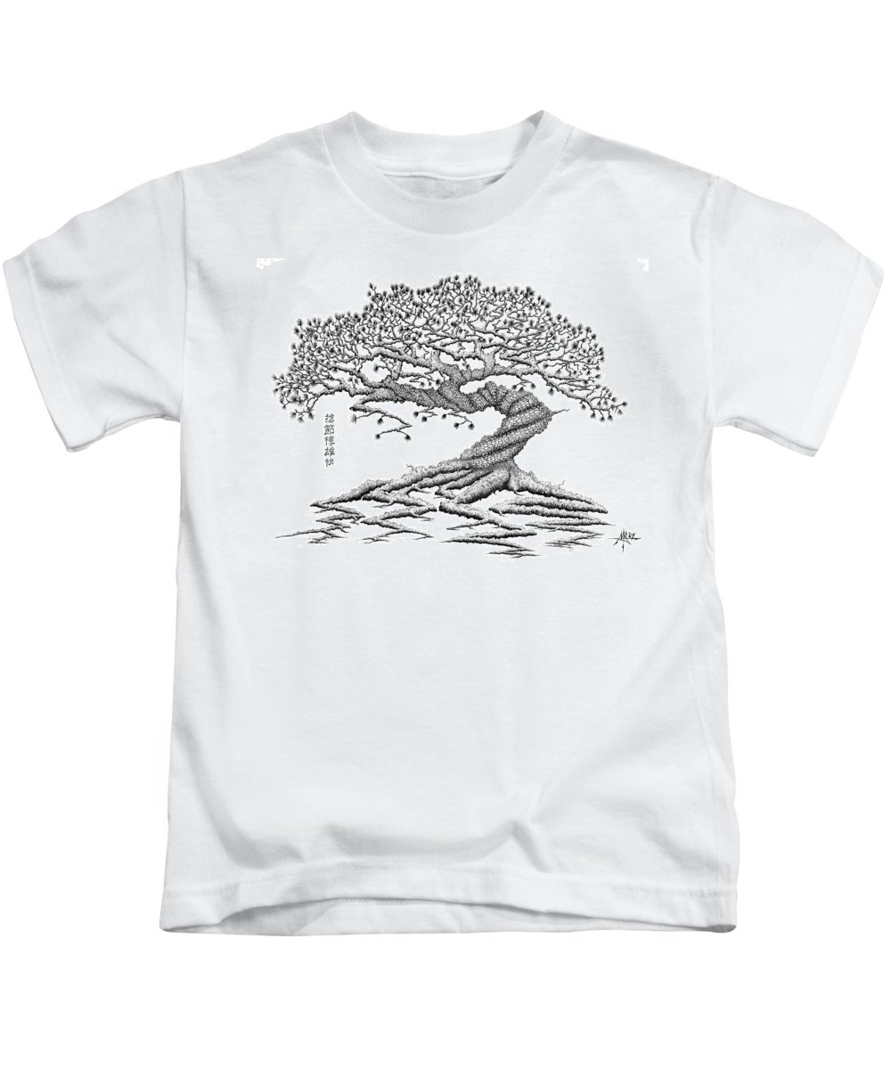 Tree Kids T-Shirt featuring the drawing Twisted Gnarled Black Pine by Robert Fenwick May Jr