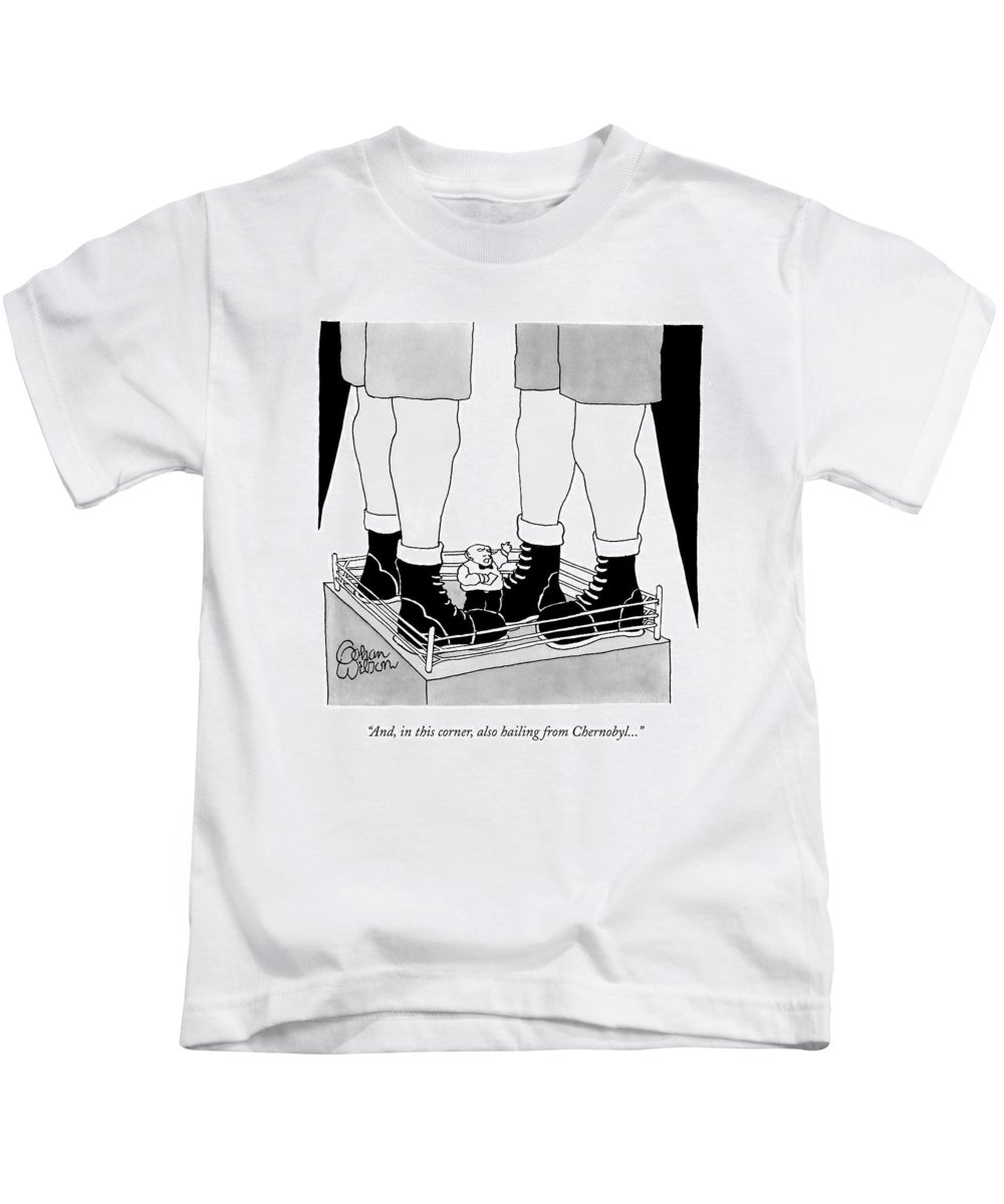 Sport Kids T-Shirt featuring the drawing Two Giant Boxers Stand In A Regular Sized Boxing by Gahan Wilson
