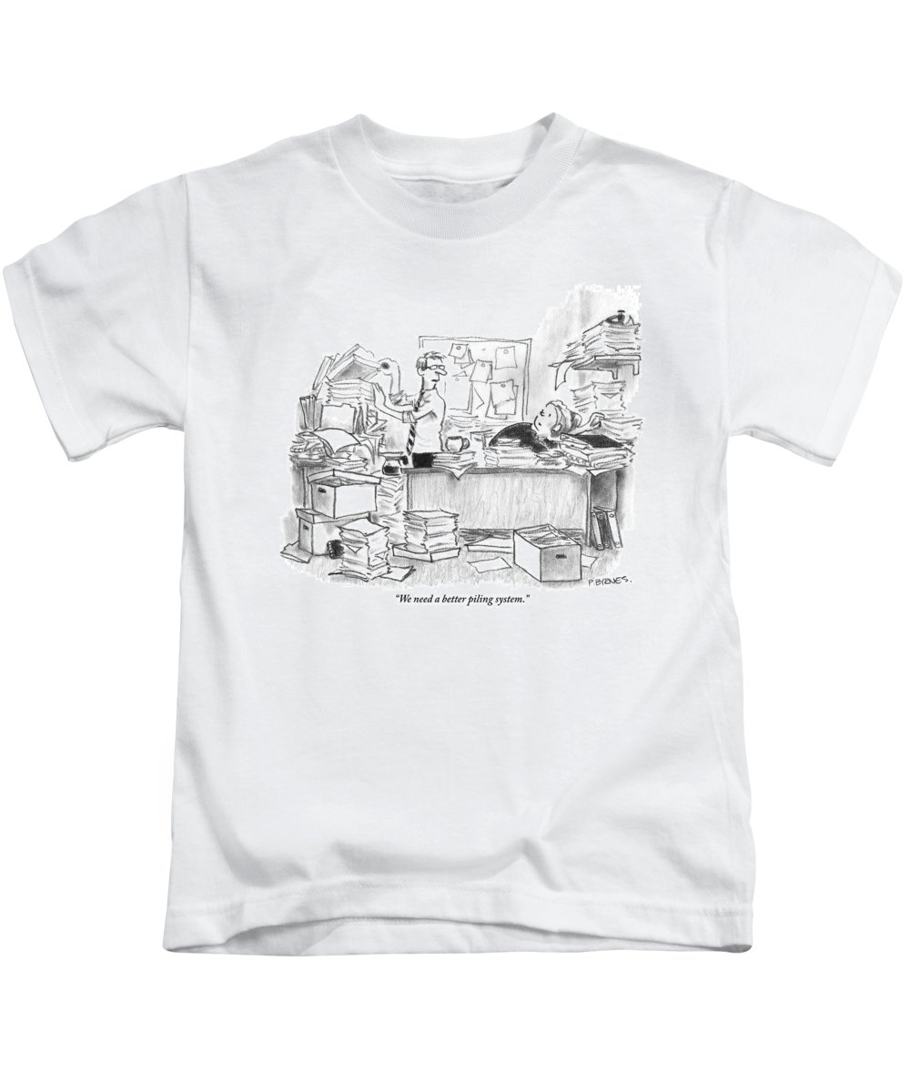 Mess Kids T-Shirt featuring the drawing Two People Are In An Office Surrounded By Large by Pat Byrnes