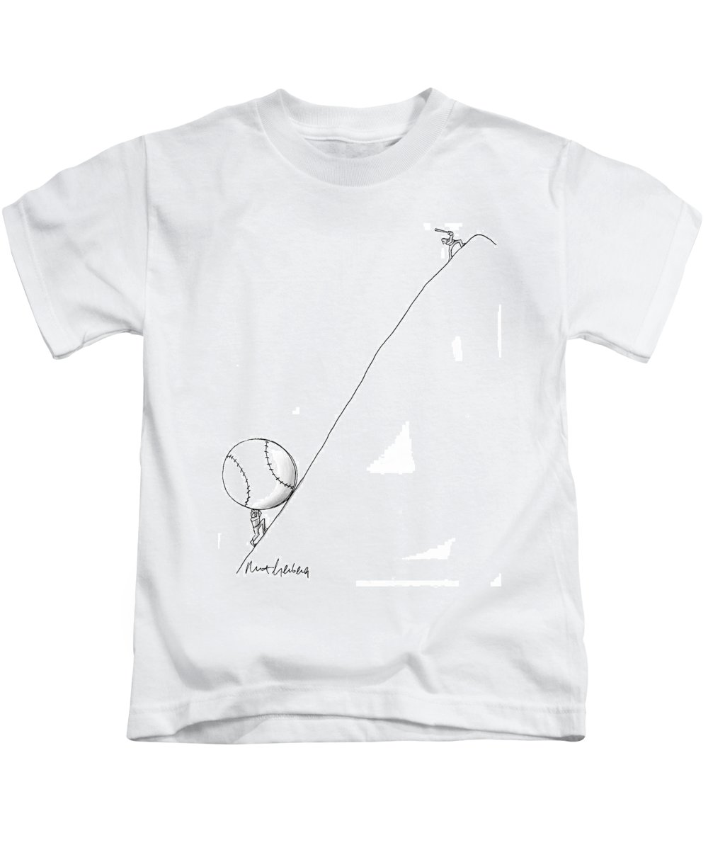 Baseball Kids T-Shirt featuring the drawing Captionless by Mort Gerberg