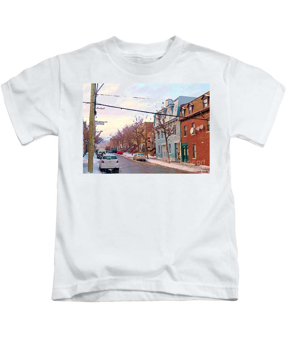 Pointe St Charles Kids T-Shirt featuring the painting Urban Winter Landscape Colors Of Quebec Cold Day Pointe St Charles Street Scene Montreal by Carole Spandau