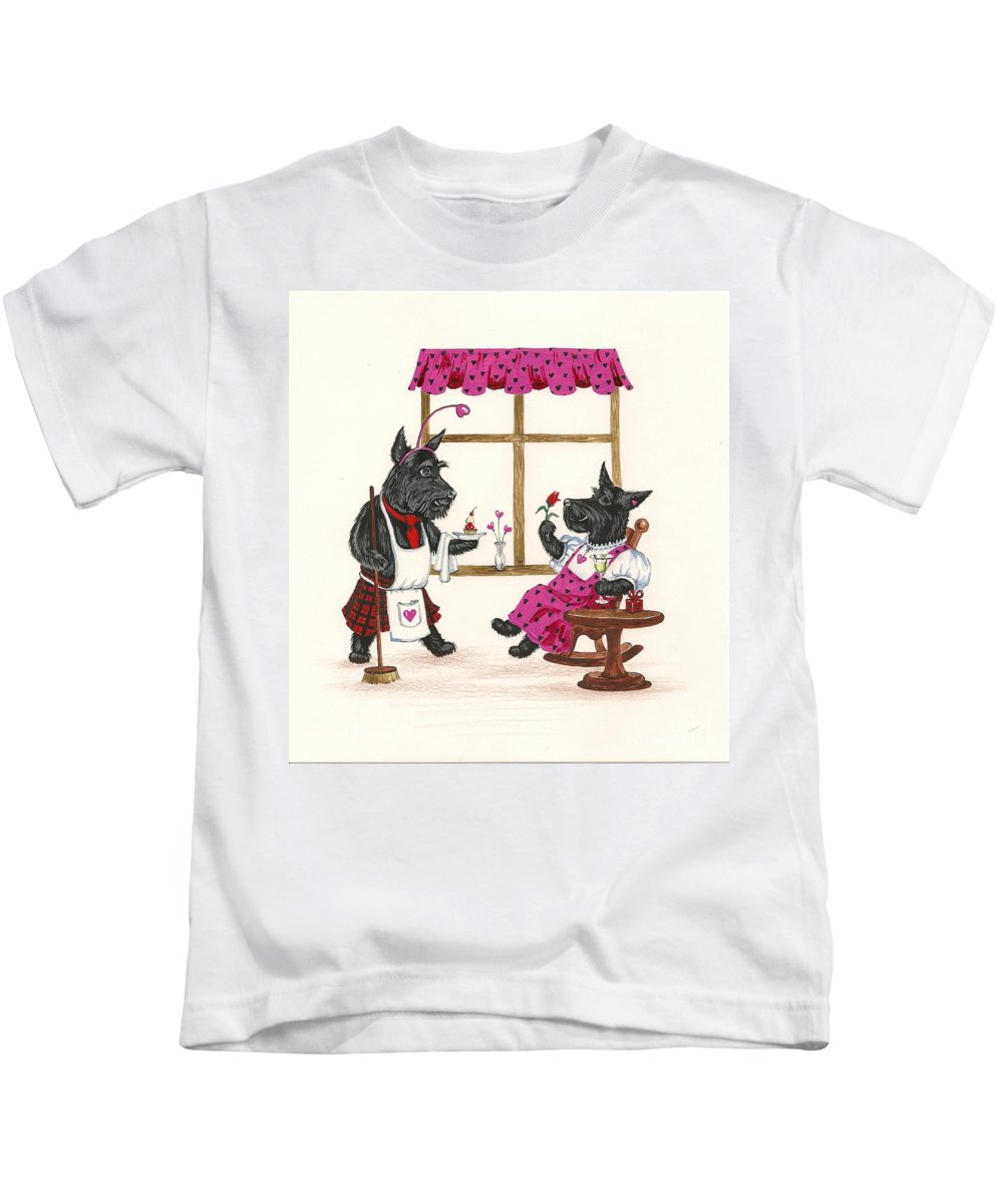 Painting Kids T-Shirt featuring the painting Valentines Day Macduf by Margaryta Yermolayeva