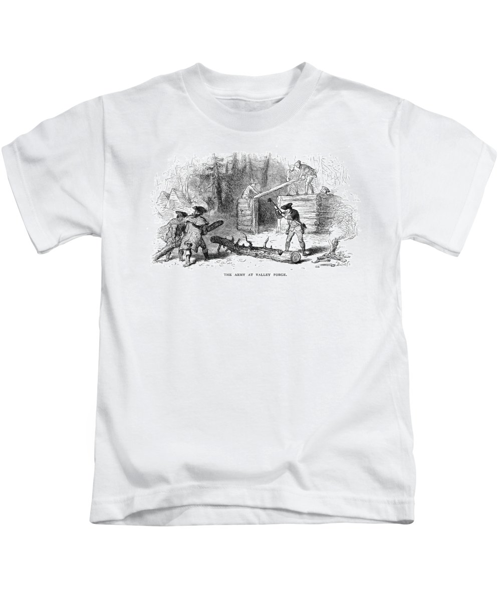 1777 Kids T-Shirt featuring the photograph Valley Forge: Huts, 1777 by Granger