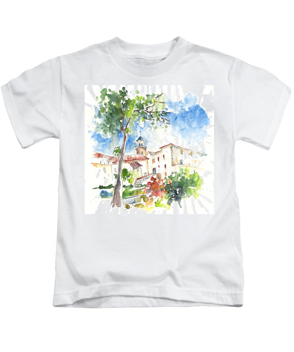 Travel Kids T-Shirt featuring the painting Velez Rubio Townscape 01 by Miki De Goodaboom