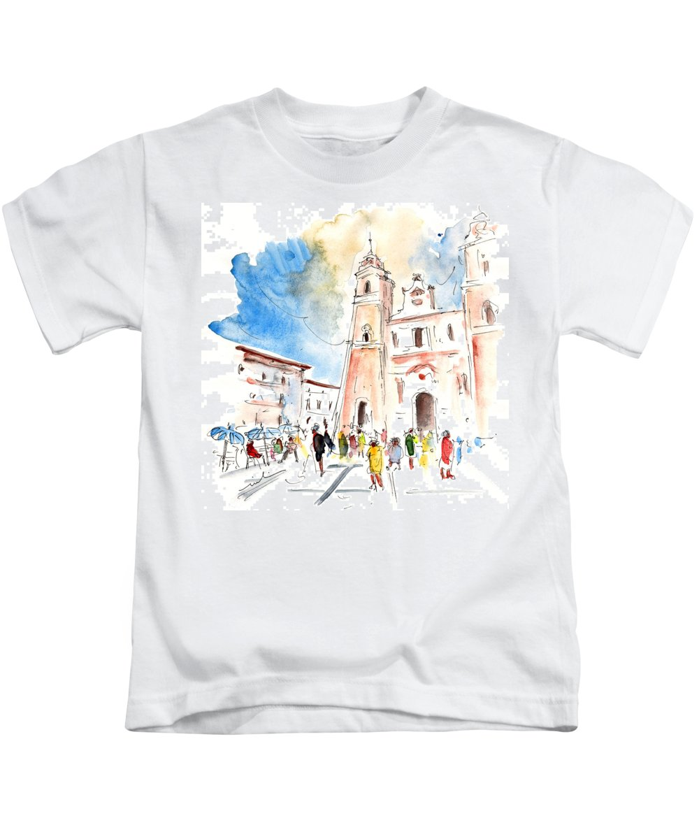 Travel Kids T-Shirt featuring the painting Velez Rubio Townscape 02 by Miki De Goodaboom