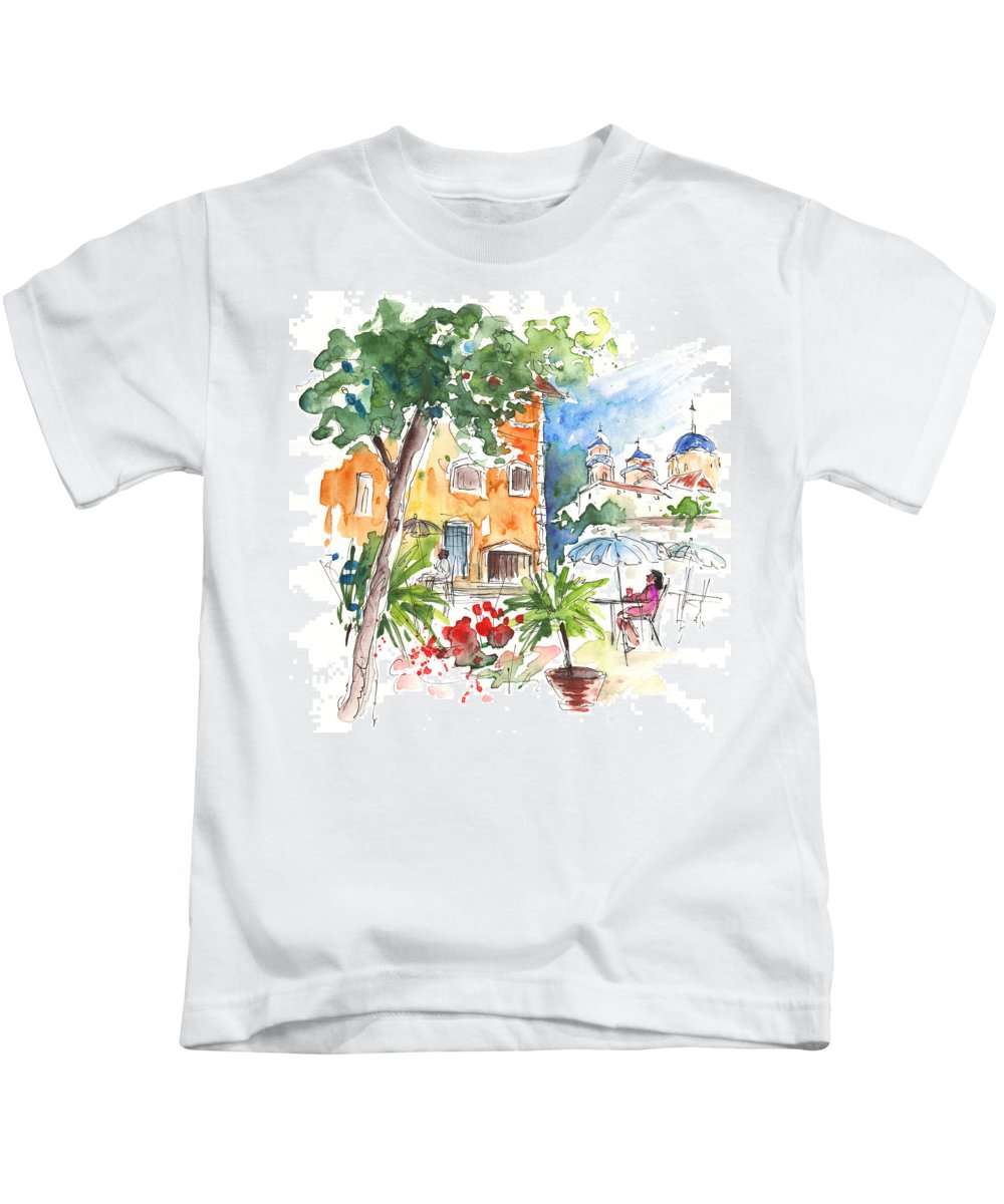 Travel Kids T-Shirt featuring the painting Velez Rubio Townscape 03 by Miki De Goodaboom