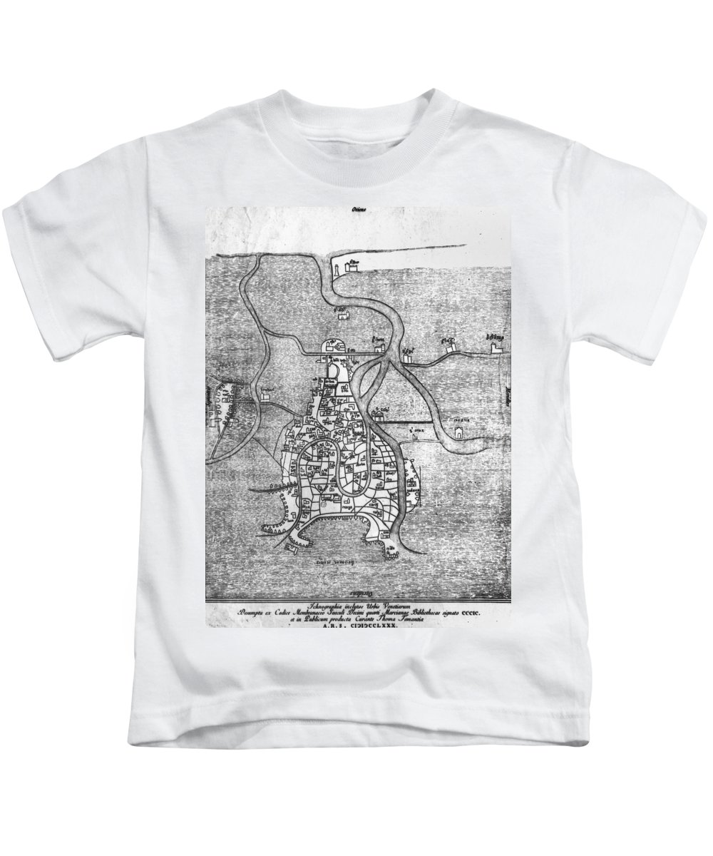 12th Century Kids T-Shirt featuring the photograph Venice: Map, 12th Century by Granger
