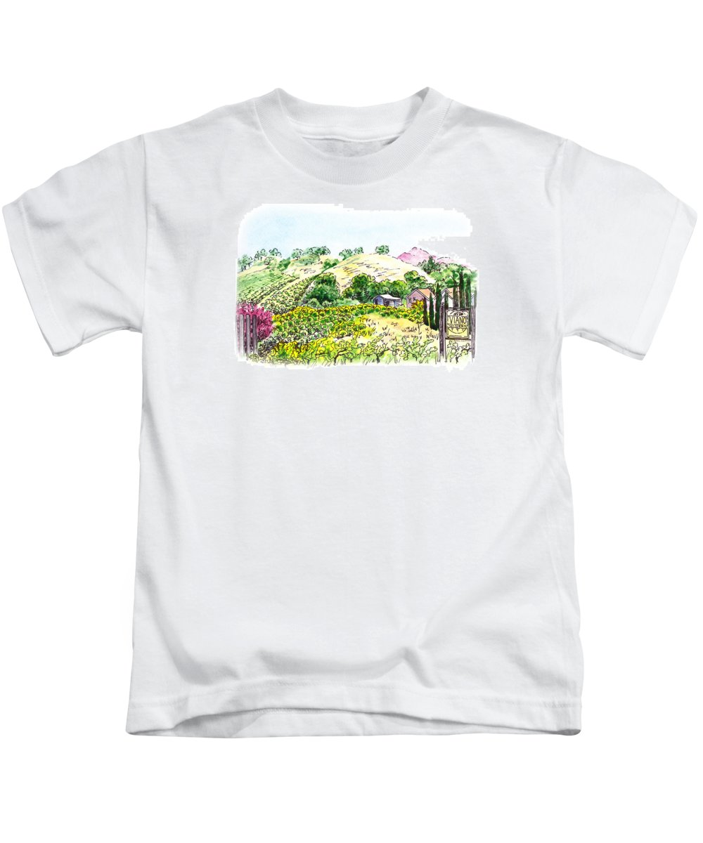 Wine Kids T-Shirt featuring the painting Viano Winery Martinez California by Irina Sztukowski