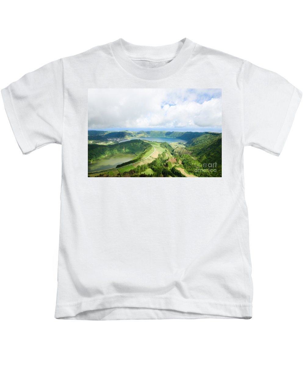 Landscape Framed Prints Kids T-Shirt featuring the photograph View From The Top Of Sete Cidades by Marco Andrade