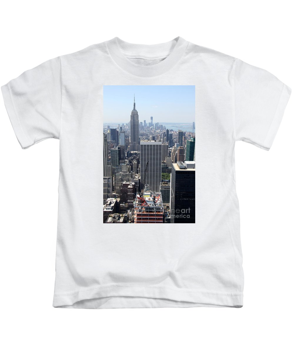 Construction Site Kids T-Shirt featuring the photograph View Over Manhattan I by Christiane Schulze Art And Photography