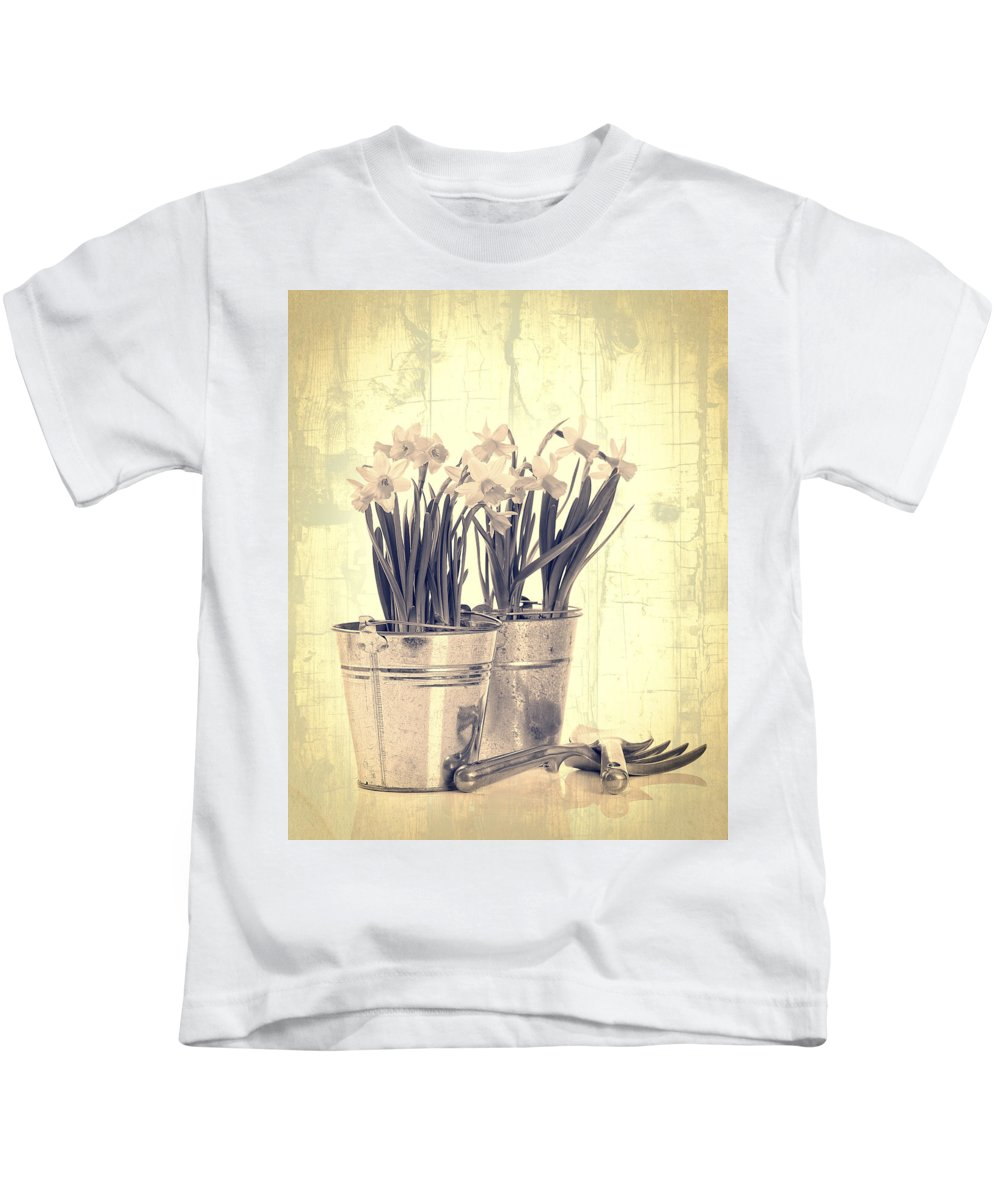 Daffodil Kids T-Shirt featuring the photograph Vintage Daffodils by Amanda Elwell