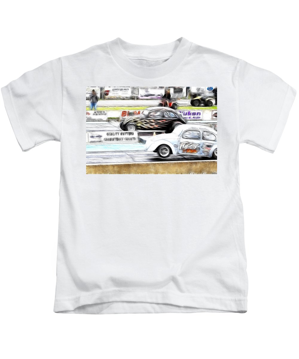 Vw Kids T-Shirt featuring the photograph Vw Beetle Race by Steve McKinzie