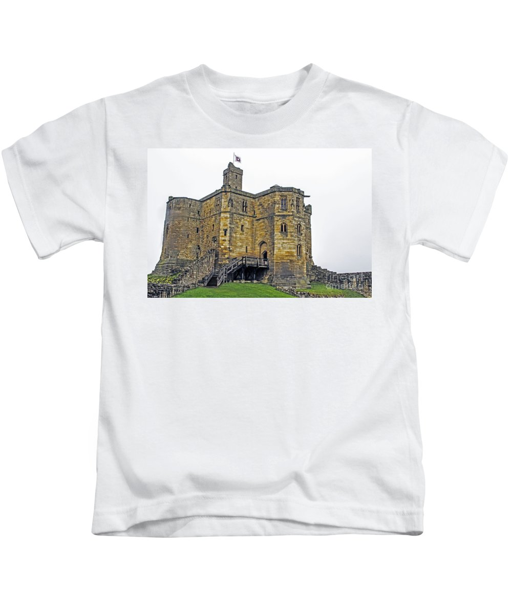 Travel Kids T-Shirt featuring the photograph Warkworth In The Fog by Elvis Vaughn