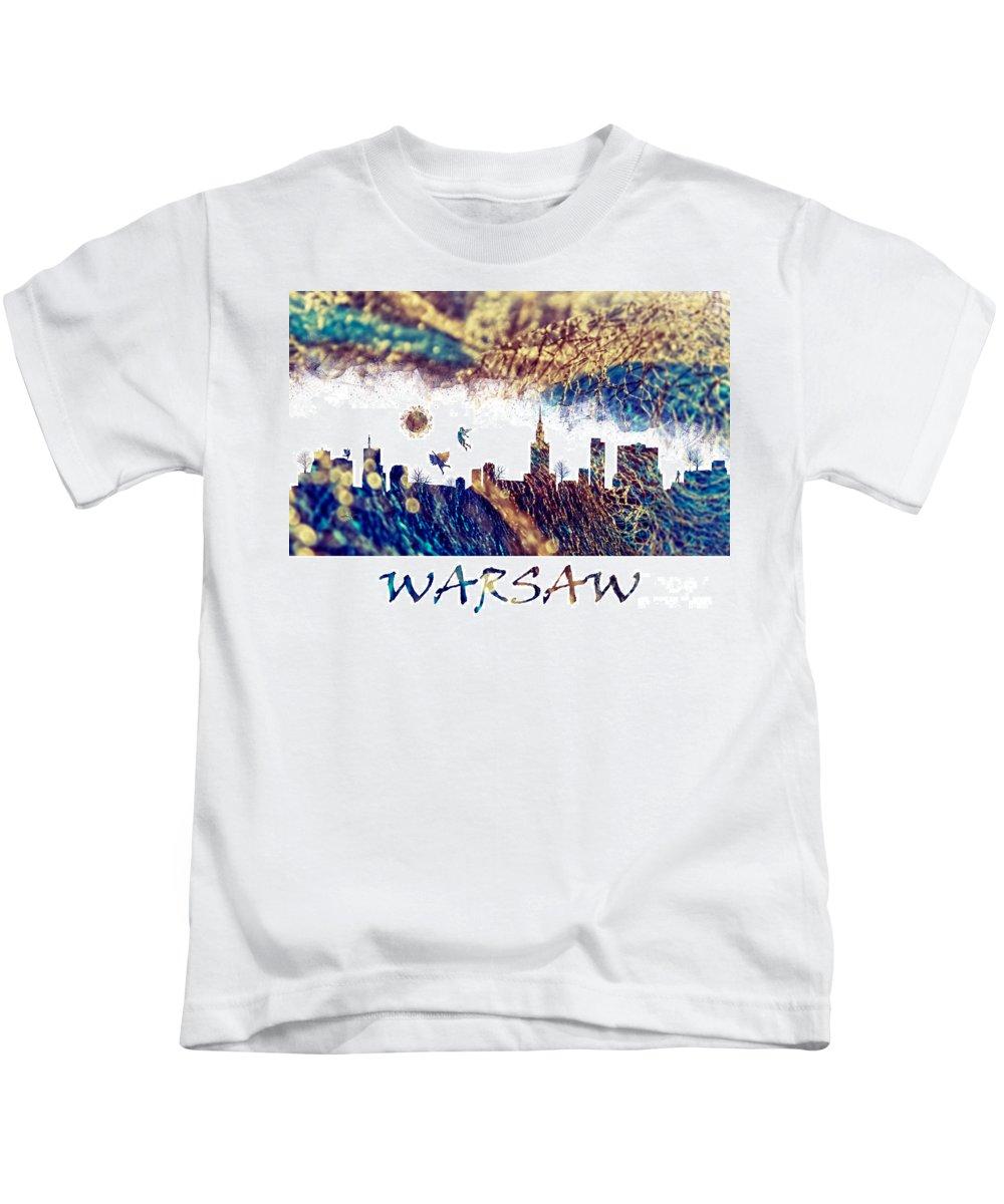 Warsaw Kids T-Shirt featuring the digital art Warsaw Skyline Postcard by Justyna JBJart