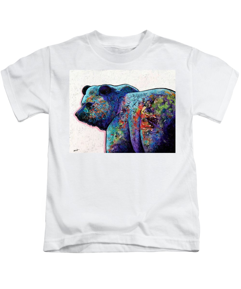 Wildlife Kids T-Shirt featuring the painting Watchful Eyes - Grizzly Bear by Joe Triano