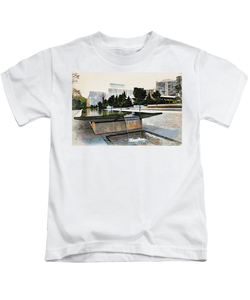 Barnes Museum Kids T-Shirt featuring the photograph Water Flows At The Barnes by Alice Gipson