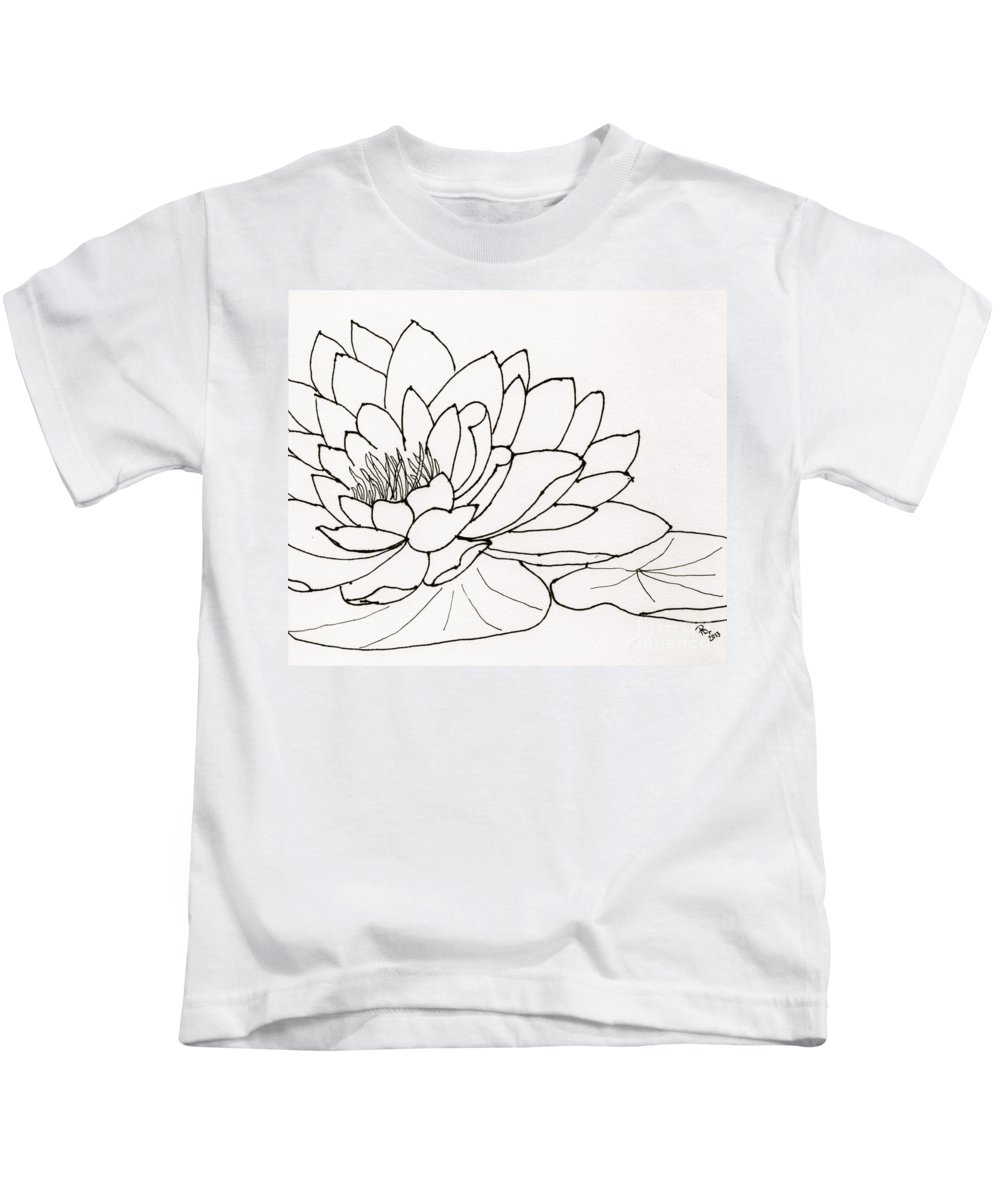 Waterlily Line Drawing Kids T-Shirt featuring the drawing Water Lily Line Drawing by Anita Lewis