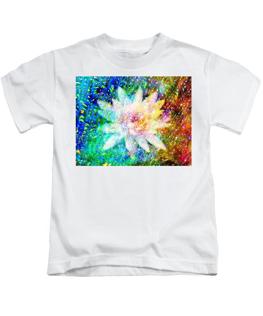 Bright Flower Kids T-Shirt featuring the digital art Water Lily With Iridescent Water Drops by Lilia D